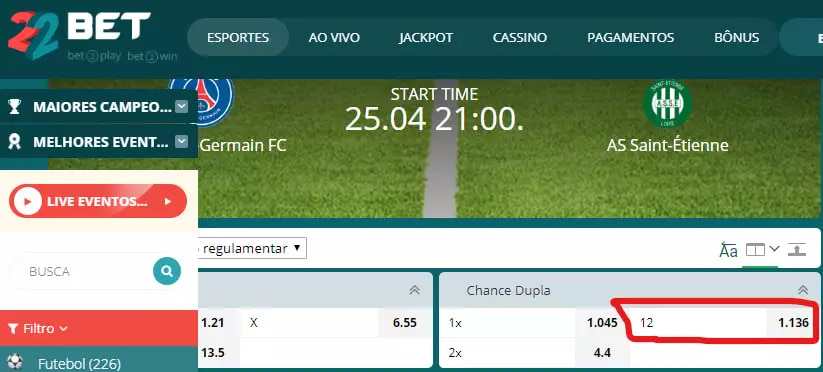dupla chance 22bet