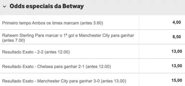 odds especiais betway