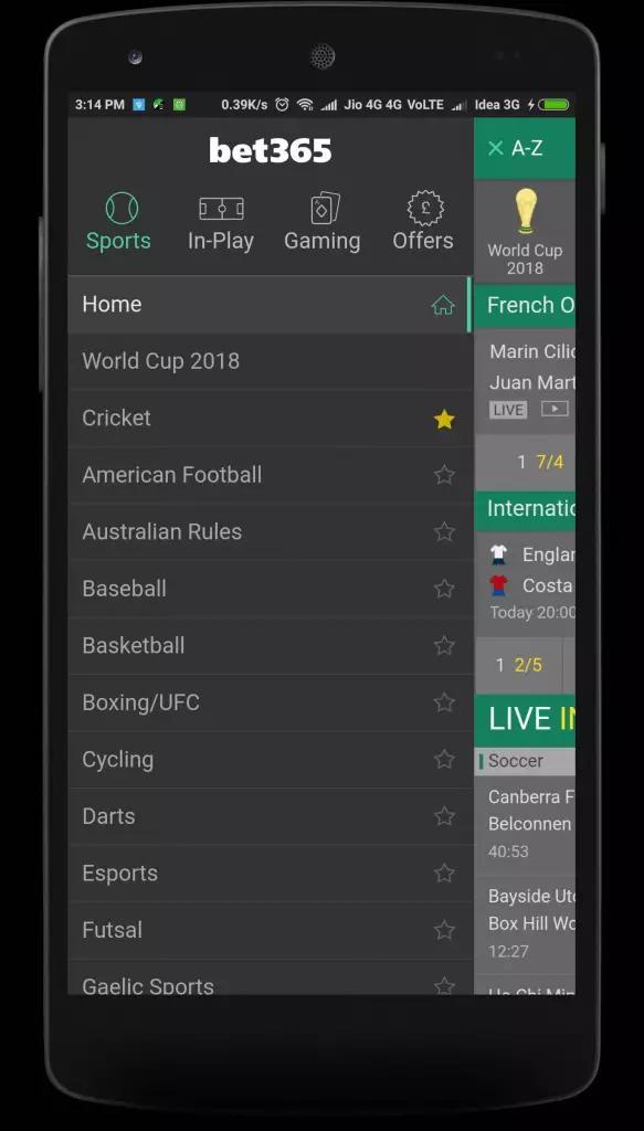 tela bet365 app